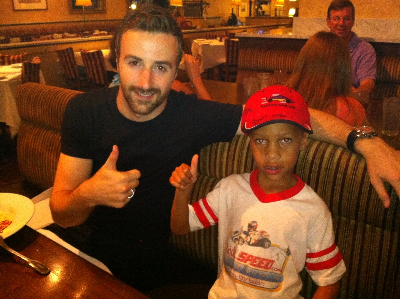 Met Indy driver, James-Hinchcliffe at dinner after the race