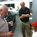 MIchael Fux and Christian discussing the Bugatti Veyron