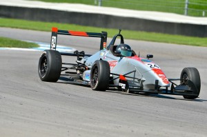 (7) USF2000 test Indy GP; old tires first time in car, 2 sec off pace